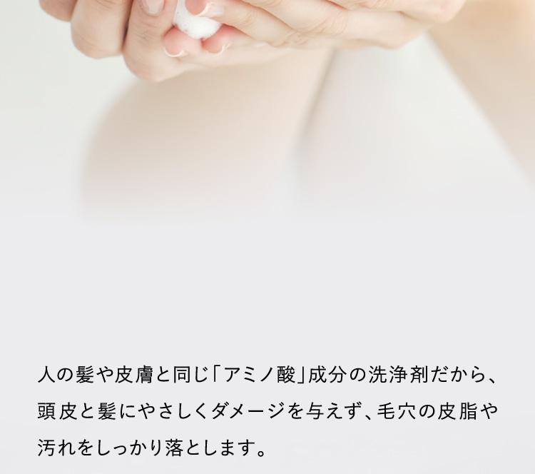 人の髪や皮膚と同じ「アミノ酸」成分の洗浄剤だから、頭皮と髪にやさしくダメージを与えず、毛穴の皮脂や汚れをしっかり落とします。